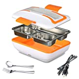SUPOW Lunch Box, Portable Electric Heating Lunch Warmer Box with Removable Stainless Steel Container Food Heater and a Car Charger (Orange) (Color: Orange)