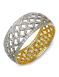 20.30 Grams White Cubic Zirconia Gold Plated Brass Bangles