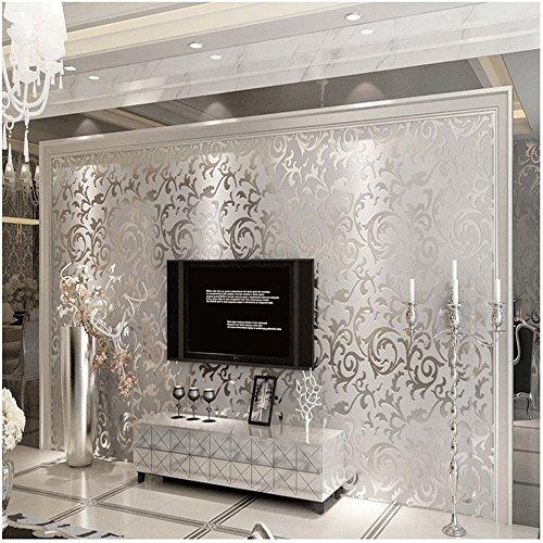 qihang qualit ts silber grau viktorianischer damast gepr gte strukturierter nichtgewebte tapete. Black Bedroom Furniture Sets. Home Design Ideas