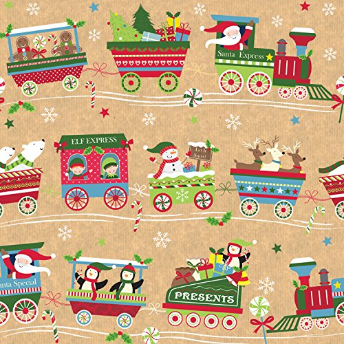 Jillson Roberts Full Ream Recycled Christmas Gift Wrap Christmas Train 932 Feet X 30 Inches Xb682 Modessdefremov