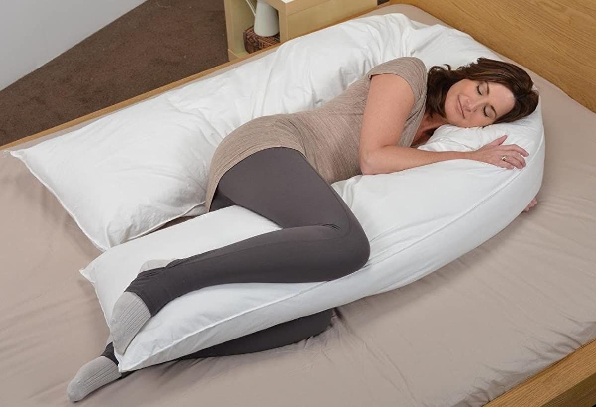 Oversized - Total Body Pregnancy Maternity Pillow- Full Support - w/ Zippered Cover - White - Exclusively By Blowout Bedding RN# 142035