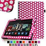 Fintie Slim Fit Leather Cover Folio Case for 8.9 inch Amazon Kindle Fire HDX - Polka Dot