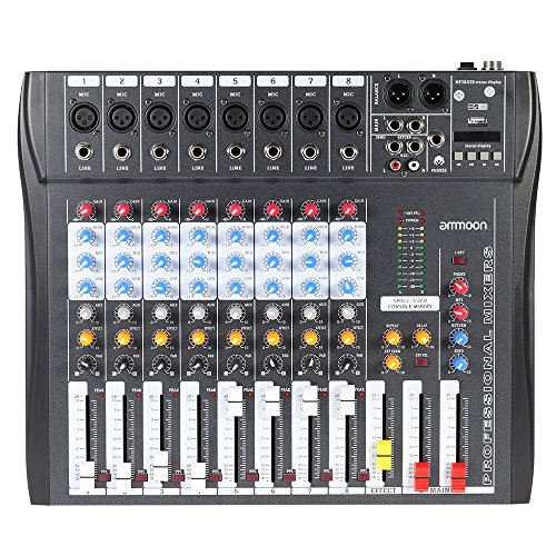ammoon CT80S-USB 8 Channel Digtal Mic Line Audio Mixing Mixer Console with 48V Phantom Power for Recording DJ Stage Karaoke Music Appreciation (8 Channel Stereo Line Mixer compare prices)