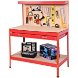 Goplus Steel Workbench Tool Storage Work Bench Workshop Tools Table W/Drawer and Peg Board (Color: Red)