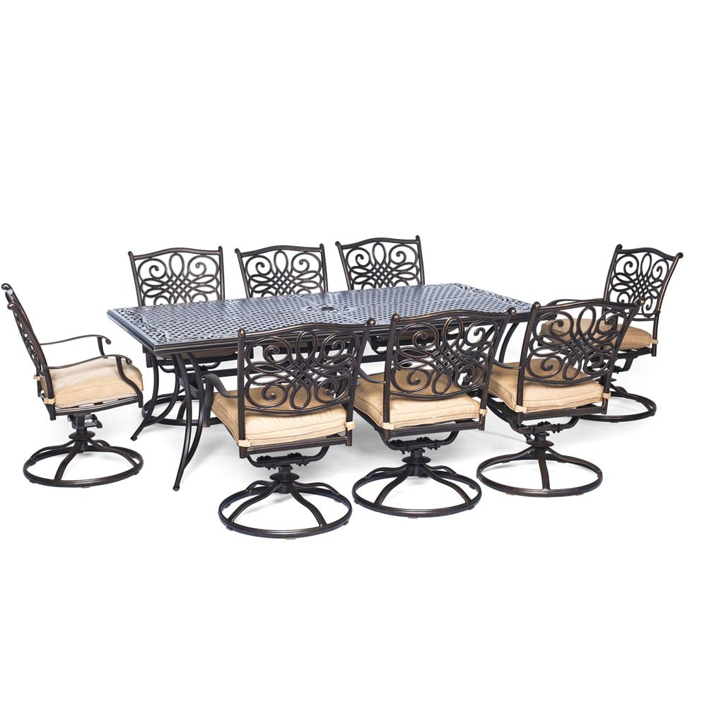 """Hanover Traditions 9 Piece Dining Set with Eight Swivel Dining Chairs and a Large Dining Table, 84 x 42"""""""