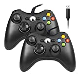 Reiso Xbox 360 Controller, 7.2 ft USB Wired Controller Gamepad Compatible with Microsoft Xbox 360 & Slim 360 PC Windows 7(Black 2 Packs) (Color: Black 2 packs)
