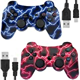 Kolopc Wireless Bluetooth Controller for PS3 Double Shock - Bundled with USB Charge Cord (BlueFlash and RedFlash) (Color: BlueFlash and RedFlash)
