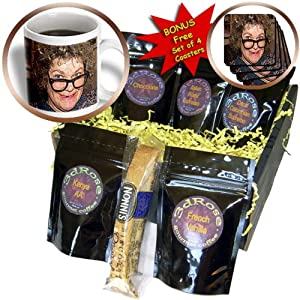 cgb_52578_1 Jos Fauxtographee Holiday - A Curly Haired Toothless Costume on a Woman for Halloween With Big Nerdy Black Glasses - Coffee Gift Baskets - Coffee Gift Basket from 3dRose LLC