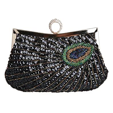 Women Shiny Sequins Peacock Beaded Rhinestone Knuckle Duster Clutch Purse Handbag