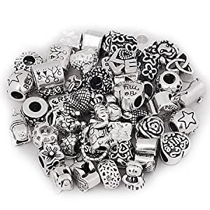 Ten (10) Pack of Assorted Mix Of Antique Silver Pandora Style Charm Spacer Beads.