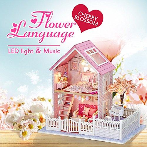 [OK59 happy family dollhouse DIY Handcraft Miniature Cuteroom DIY Wooden Pink Cherry Handmade Decorations Model with LED Light&Music] (Malibu Barbie Costume)