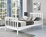 tinkertonk Premium Wooden Bed Frame White Single Size Solid Pine Wood Frame [3FT Single]