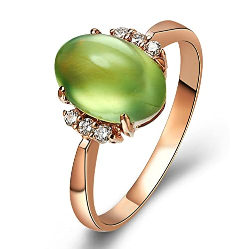 Moon Wings 4 cts Natural Prehnite and Diamonds 18K Rose Gold Ring
