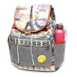 #5: BRANDX Imported Designer Collectionz with Smiley Badge fashionable light weight double layer Canvas Backpack Cute Travel School College Shoulder bag for Teenage Girls/Students/Women/ Girls