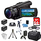 Sony FDRAX100/B FDR-AX100 FDRAX100 AX100 4K Video Camera w/ 3.5-Inch LCD (Black) Bundle w/ 64GB Memory Card, Gadget Bag, Battery (2), Battery Charger, Filter Kit, Memory Card Reader, Full Size Tripod, Mini Tripod, Screen Protectors and Cleaning Kit