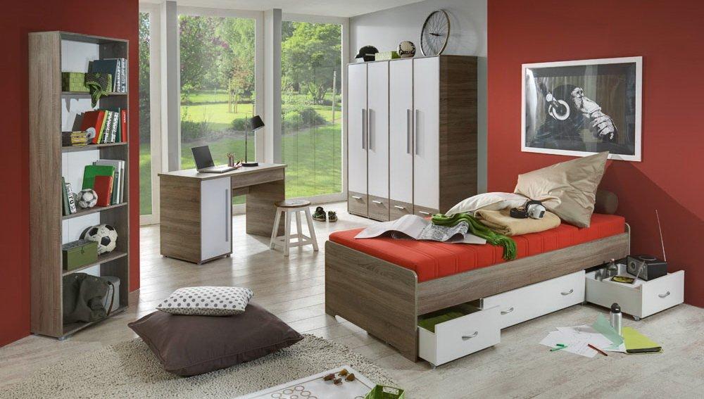 4-tlg. Jugendzimmer in Trüffel Eiche-Nachb, Kleiderschrank B: 166 cm, Regal B: 58 cm, Schreibtisch B: 120 cm, Bett 90 x 200 cm