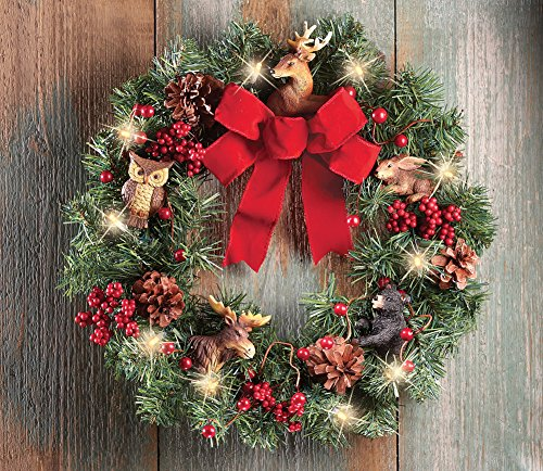 Lighted Northwoods Animal Door Wreath Decoration