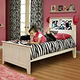 LightHeaded Beds Shaker Twin Bed with back-lit LED Headboard Imagery - Satin White