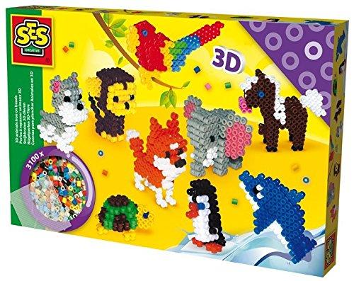SES Creative - Cuentas para planchar animales en 3D, multicolor (06126)