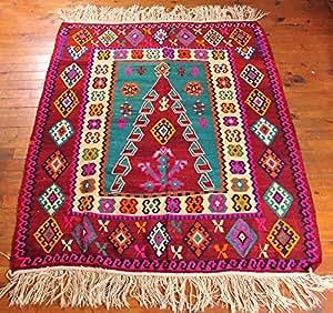 prayer kilim rug prayer rug oriental kilim red turquoise oriental rug ottoman. Black Bedroom Furniture Sets. Home Design Ideas