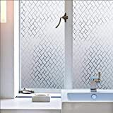 Bloss Privacy Window Film  Decorative Window Films Glass Film Window Cling Film Non Adhesive Heat Control Anti UV Window Films Home Office, 17.7 by 78.7 inches (Color: Grid)