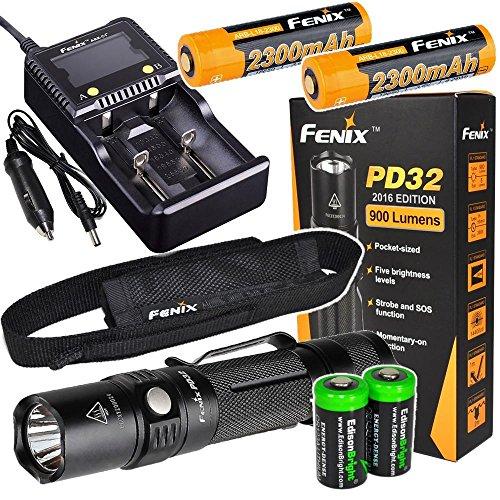 Fenix PD32 2016 Edition 900 Lumen CREE XP-L HI LED Tactical Flashlight, 2 X Fenix ARB-L2M 18650 Li-ion rechargeable batteries, Fenix smart Charger and 2 X EdisonBright CR123A Lithium batteries bundle
