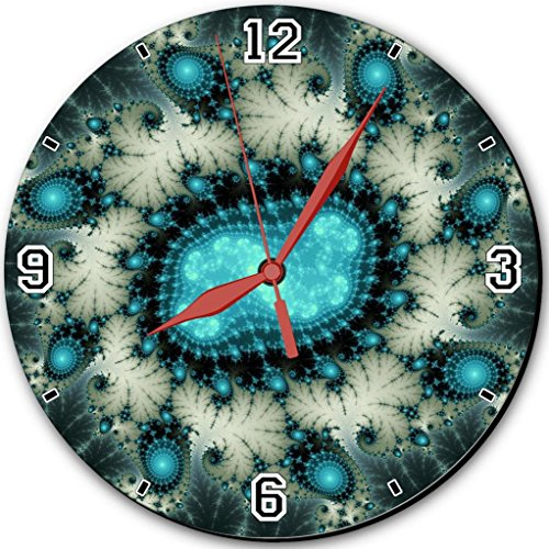 """Teal Color Shapes Fractal Pattern 10"""" Quartz Plastic Wall Round Clock Classic Analog Setting Customized Inch Hand Needle Made To Order Support Ready Assembly Required Luxlady Dial Time Personalized Gift Battery Operated Accessories Graphic Designed Model"""