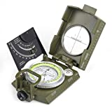 BIJIA Multifunctional Sighting Compass for Hiking,Metal Military Waterproof High Accuracy Lensatic Compass with Clinometer and Bubble Level for Hiking