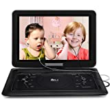 2018 Upgraded DR.J Professional 14.1 inch 7 Hours Portable DVD Player with Build-in Rechargeable Battery, 270°Swivel Screen, 5.9 ft Car charger and SD Card Slot and USB Port, 2 x Earphones (Color: 14 inch, Tamaño: 14.1