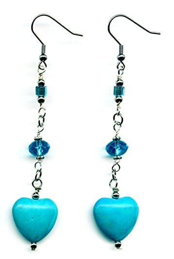 Turquoise blue heart earrings for Mother's Day
