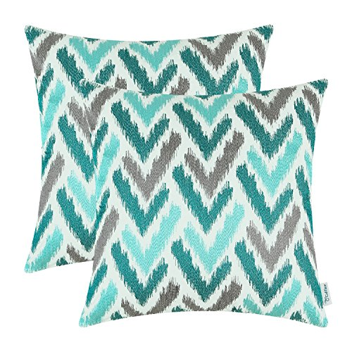 Set of 2 CaliTime Ikat Pillow Covers 18 X 18 Inches