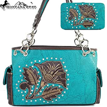 Montana West Cow Girl Lily Print Handbag in Turquoise Western Shoulder Purse with Wallet