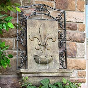 French Lily Outdoor Wall Fountain Florentine Stone Finish