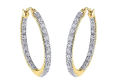 Adara 9 ct Yellow Gold 0.25ct Diamond Hoop Earrings