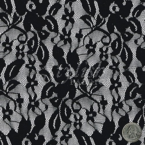 black tea rose floral lace fabric by the bolt