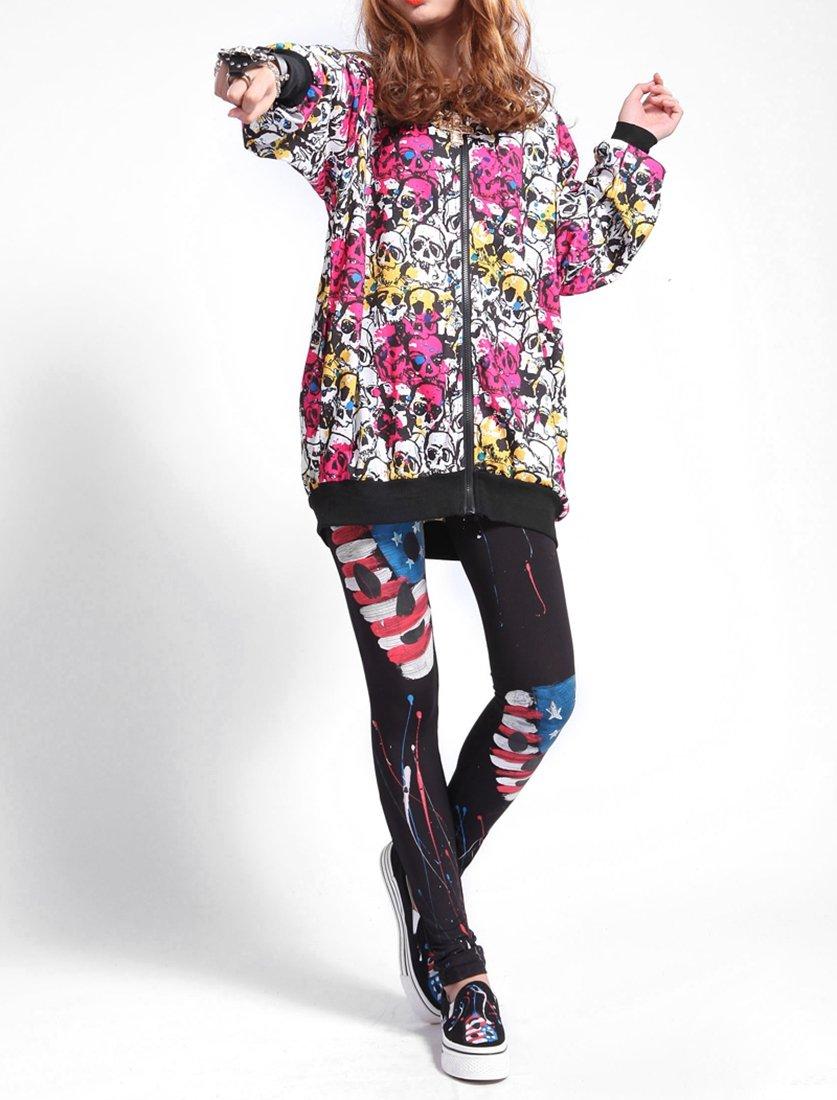Женская стеганая куртка ELLAZHU Women Oversized Baggy Skulls Full Zip Jacket Coat Onesize GY203