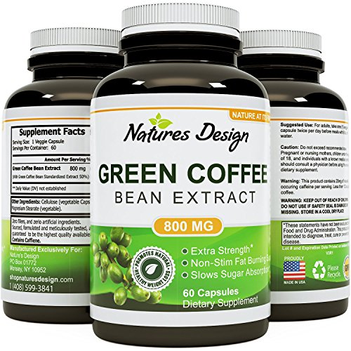 Pure Green Coffee Bean Extract - Standardized to 50% Chlorogenic Acid - Weight Loss Supplement for Men & Women - Burns Both Fat and Sugar - High Grade Natural Ingredients - by Natures Design (Pure Green Bean Coffee compare prices)