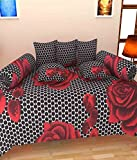 The Decor Hub Black And Red Cotton Diwan Set- 8 Pieces