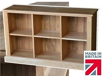 100% Solid Oak Bookcase, Vinyl - LP Triple Storage Display Shelving Bookshelf. Heartland Oak Range, No Flat-Packs, No Assembly (OKB33)