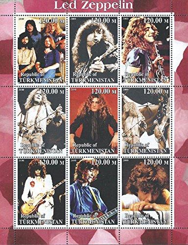 2000 Legendary Band Led Zeppelin 9 Stamp Sheet F/Vf Mnh 20D-113