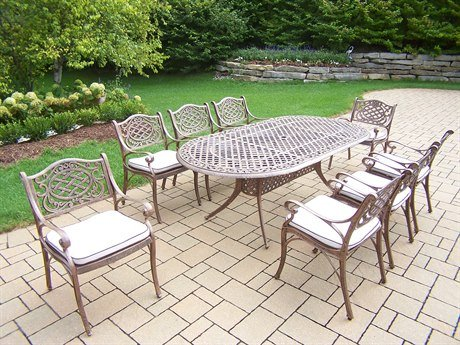 Oakland Living Mississippi 9-Piece Dining Set With 84 By 42-Inch Oval Table And 8 Cushioned Chairs, All Cast Aluminum On Frames