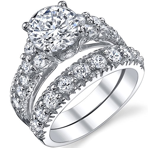 Solid Sterling Silver 925 Engagement Ring Set Bridal Rings with High Quality Cubic Zirconia Size 4.5