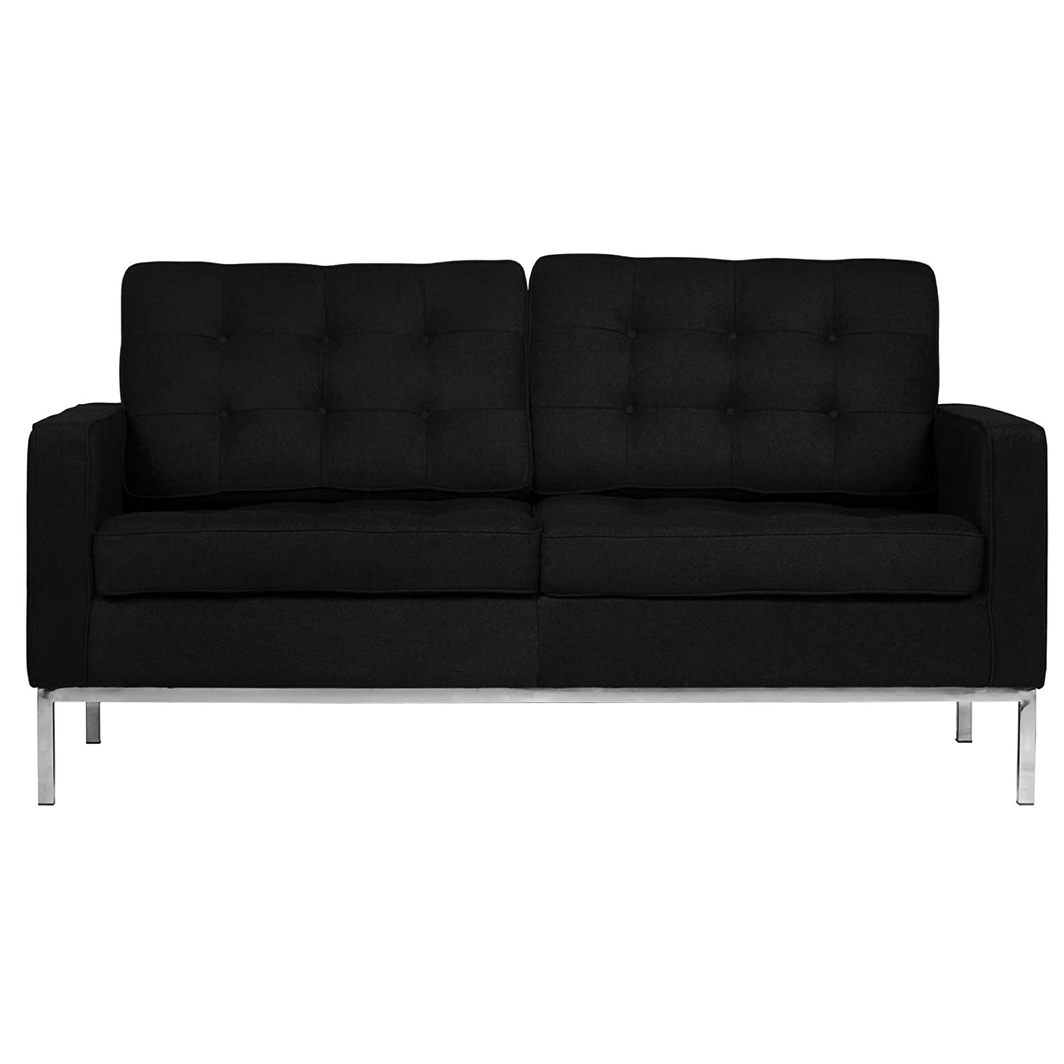 LeisureMod® Modern Florence Style Fabric Loveseat Sofa in Black Wool