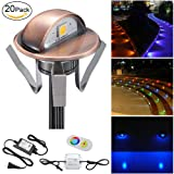 FVTLED Pack of 20 Multi-color Low Voltage LED Deck lights kit F1.38