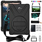 P580 Case, Galaxy Tab A 10.1 (with S Pen) Case, Shockproof High Impact Resistant Heavy Duty Armor Cover With Hands Strap Shoulder Belt For(Samsun Galaxy Tab A 10.1 P580 P585 (S Pen Version),Black (Color: P580_Black, Tamaño: P580 (with S Pen Version))