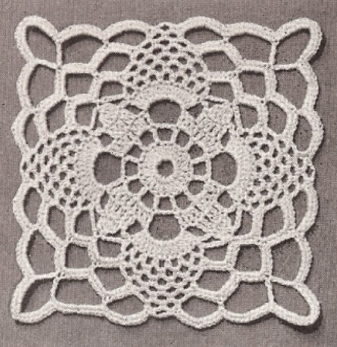Vintage Crochet PATTERN to make - Tablecloth MOTIF BLOCK Bedspread Governor's Lady. NOT a finished item. This is a pattern and/or instructions to make the item only.