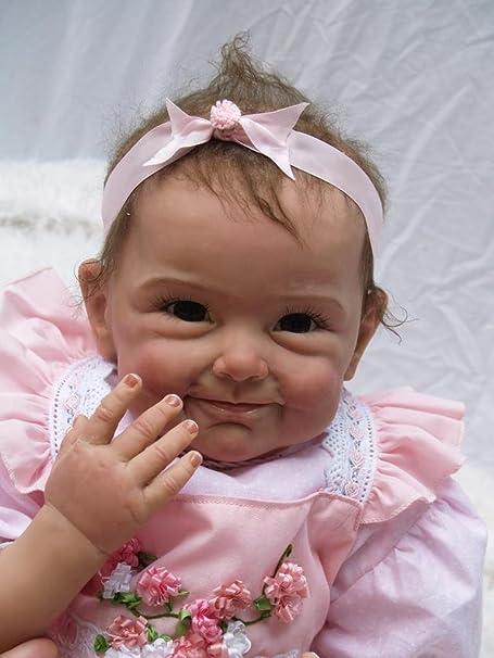 Nicery Reborn Bébé Poupée en silicone souple 22inch 55cm Magnétique Bouche Belle Lifelike Mignon Garçon Jouet Fille robe Se leva fleur Baby Doll A3FR