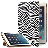 VanGoddy Mary Portfolio Slim Stand View Smart Book Cover Case For Apple IPad Air 2 9.7in (Black White Zebra)