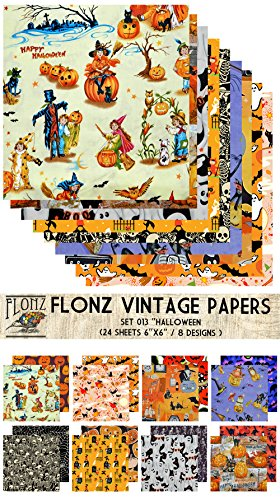 """Paper Pack (24sh 6""""x6"""") Halloween FLONZ Vintage Paper for Scrapbooking and Craft"""