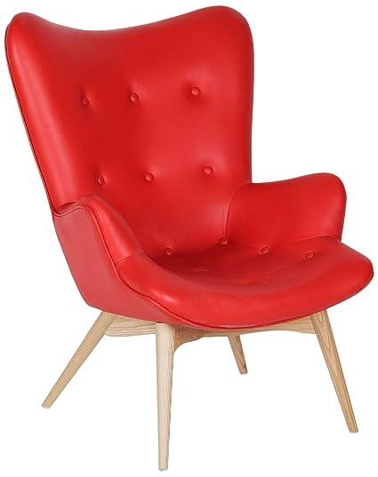 Sillón FREATHER -Leather Premium--Rojo Inspiración Grant Featherston Chair de Grant Featherston Color Rojo